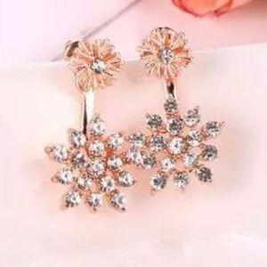 Rose Gold Tone Clear Crystal Flower Burst Earrings